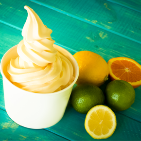 Orange soft ice cream and citrus fruits