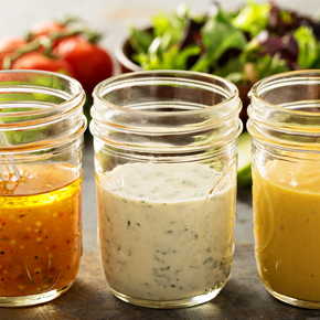 Hydrocolloids - jars with salad dressing