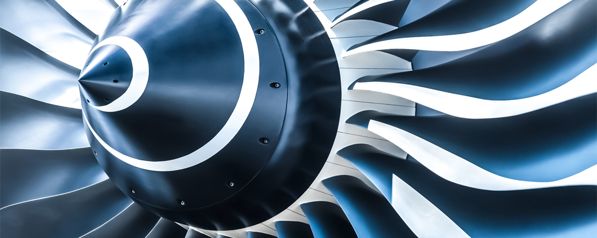 A closeup of jet engine blades. These complex components demand the highest possible cleanliness standards and often rely on solvents.