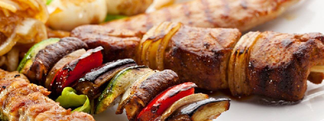 Skewers of chicken, vegetables and pork.