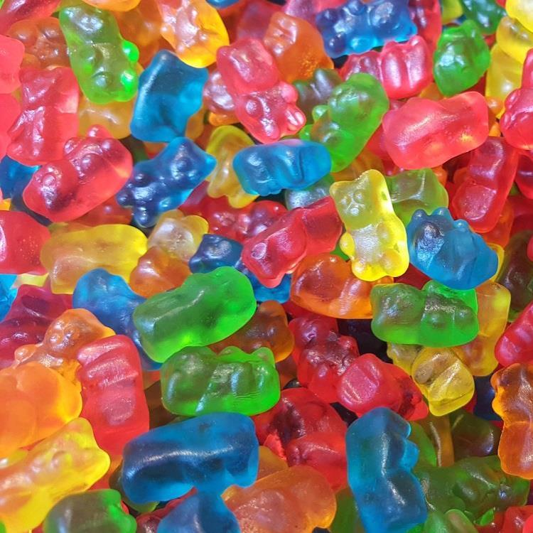 Multi-coloured gummie bears.