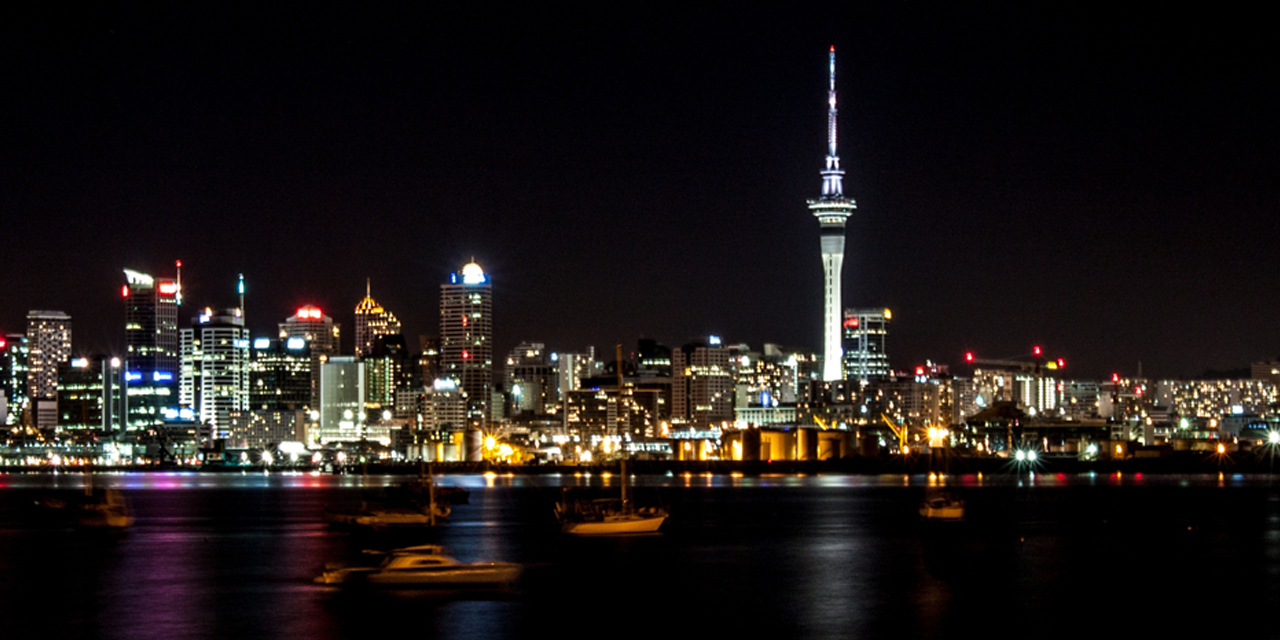 Auckland, New Zealand by night